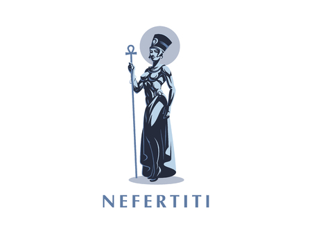 Egyptian Queen Nefertiti or Cleopatra. Vector illustration.