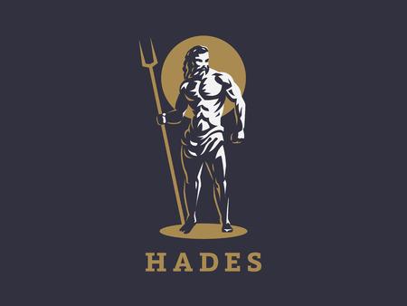 God Hades or Pluto. Logo. Vector emblem. Illustration