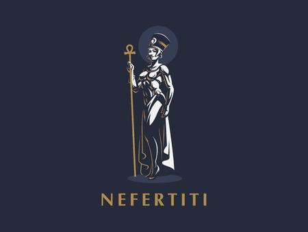 Egyptian Queen Nefertiti or Cleopatra. Vector illustration.
