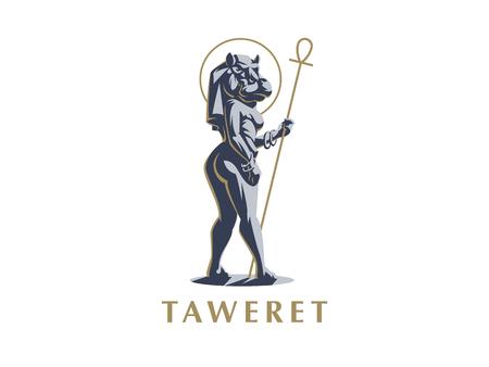 Egyptian goddess Taweret. Ankh. Logo. Vector illustration.