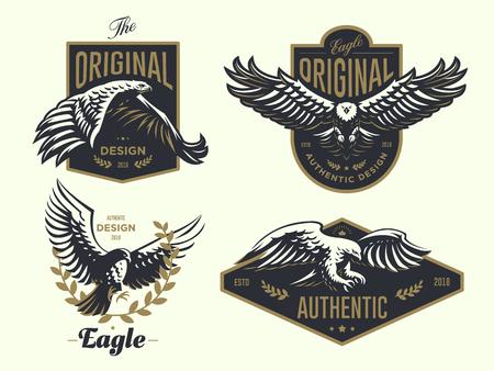 Set del logo vintage con l'illustrazione vettoriale dell'Aquila.