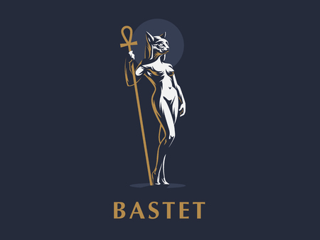 Egyptian goddess Bastet. Logo. Cat. Woman. Vector illustration. Standard-Bild - 107646039