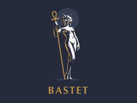 Egyptian goddess Bastet. Logo. Cat. Woman. Vector illustration.