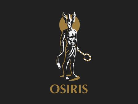 Il dio egizio Osiride. Logo. Emblema di vettore.