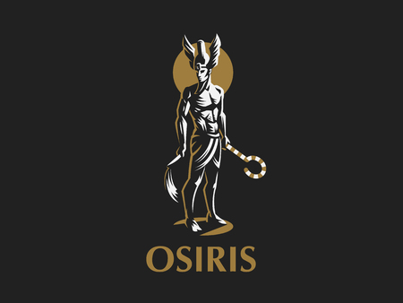 The Egyptian god Osiris. Logo. Vector Emblem. Stock Illustratie