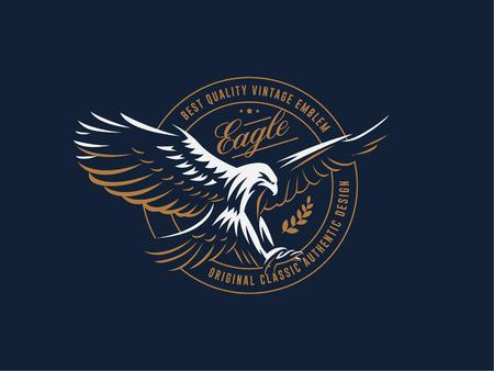 The flying eagle. Hawk. Bird.  Logo. Vector emblem.