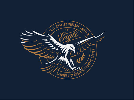 The flying eagle. Hawk. Bird.  Logo. Vector emblem. Archivio Fotografico - 107646073
