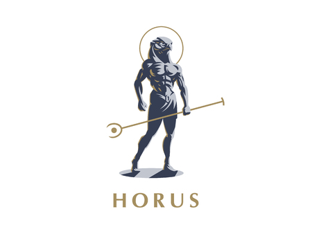 Egipski bóg Horus. Logo. Ilustracji wektorowych.