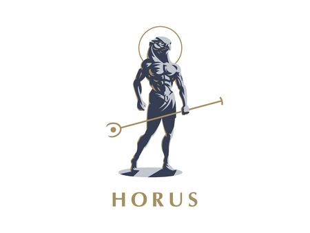 Il dio egizio Horus. Logo. Illustrazione vettoriale.