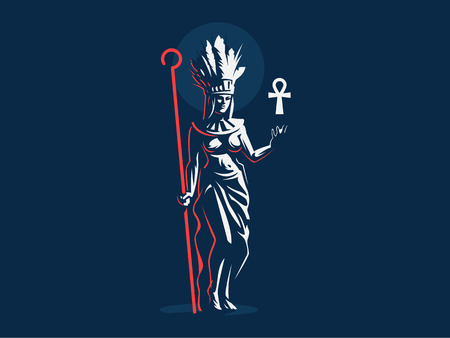 Egyptian goddess Anuket. Ankh. Feathers. Vector emblem.