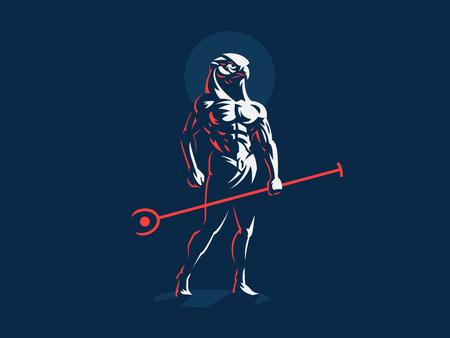 El dios egipcio Horus. Logo. Ilustración vectorial.