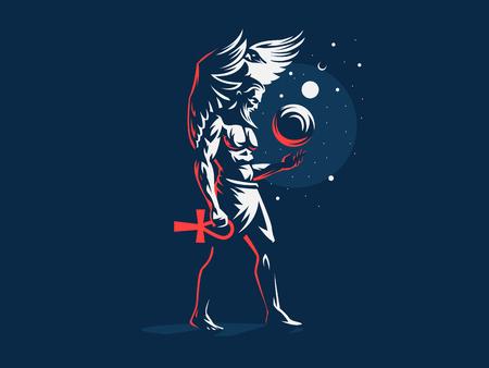 Geb, dios egipcio de la Tierra. Logo. Ilustración vectorial Logos