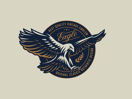 De vliegende adelaar. Havik. Vogel. Logo. Vector embleem.