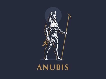 Il dio egizio Anubi. Logo. Emblema del vettore.