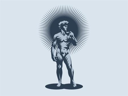 Statue of David or Apollo. Vector illustration.
