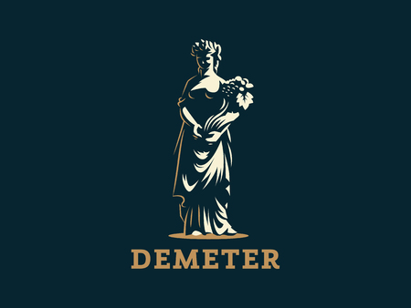 Goddess Demeter, with ears and fruit in her hand.