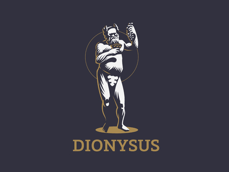 Dionysus or Bacchus holds a bunch of grapes and a glass of wine in his hands. Vector emblem. Illustration