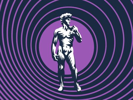 Statue of David or Apollo. Vector illustration. Standard-Bild - 107646116