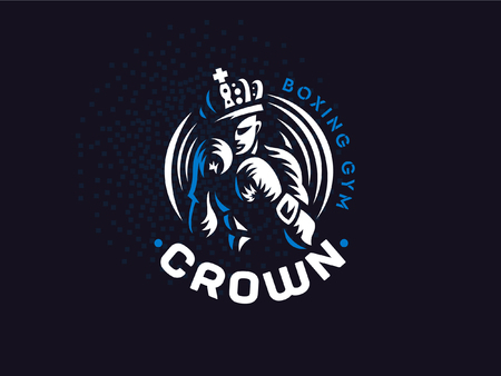 Boxer in the crown. The vector emblem. Illustration