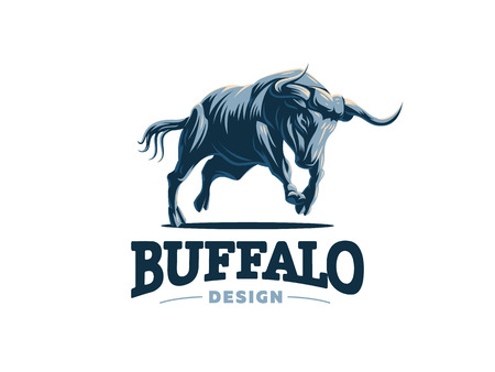 Bull with big horns. Wildlife. Vector illustration. Vetores