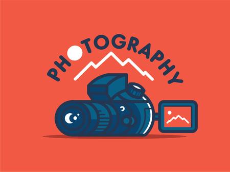 Camera and landscape. Vector emblem.