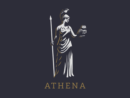 The goddess Athena holds an owl and a spear in her hand. Vectores
