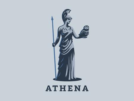 Die Göttin Athene hält eine Eule und einen Speer in der Hand.