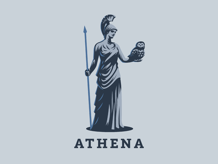 The goddess Athena holds an owl and a spear in her hand. Illustration