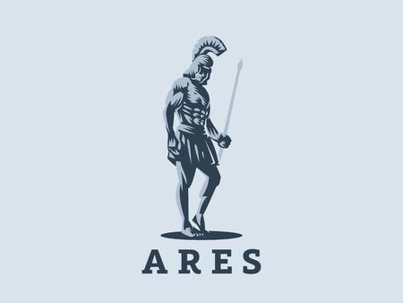 Gott Ares oder Mars mit einem Speer in den Händen. Vektoremblem. Vektorgrafik