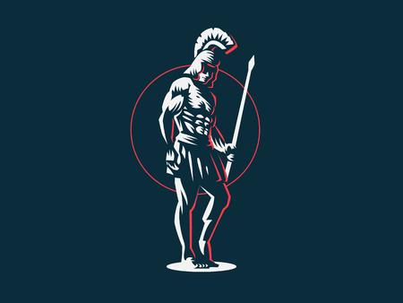Gott Ares oder Mars mit einem Speer in den Händen. Vektoremblem.