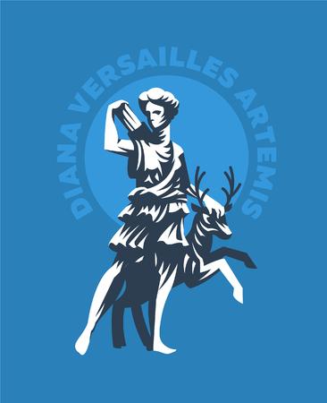 Statue of Diana of Versailles or Artemis. Vector emblem.