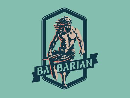 Wild warrior. Barbarian with a sword. Vector emblem. Illustration