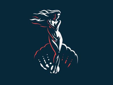 Afrodite o Venere nella conchiglia. Logo. Emblema del vettore.