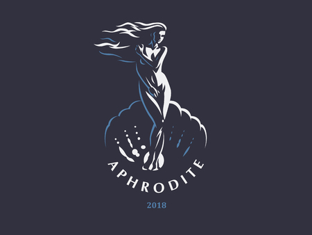 Aphrodite or Venus in the shell. Logo. Vector emblem.