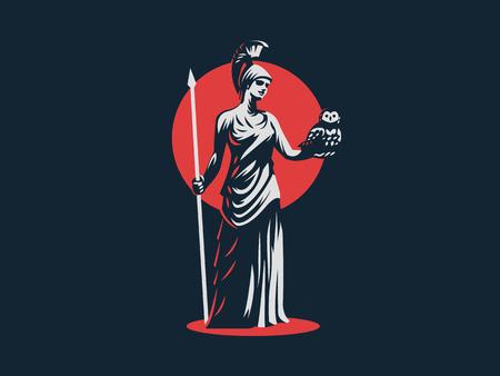 La diosa Atenea sostiene un búho y una lanza en su mano. Ilustración de vector