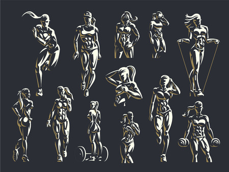 Sporty woman fitness emblem set. Vector illustration.