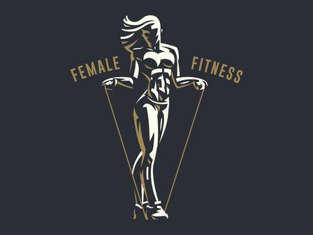 Sportowa sylwetka godło fitness kobieta. Ilustracja wektorowa.
