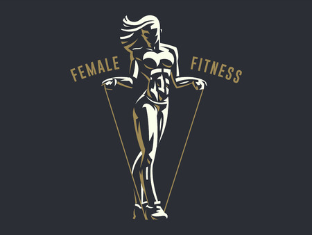 Sporty woman fitness emblem silhouette. Vector illustration. 向量圖像