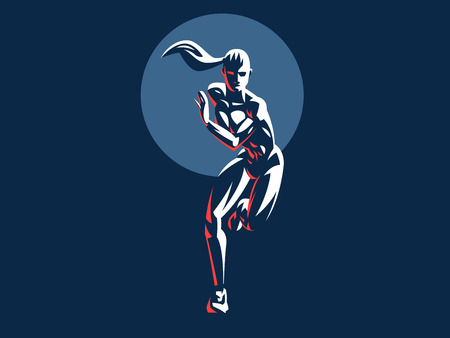 Sporty woman fitness emblem silhouette. Vector illustration. 일러스트