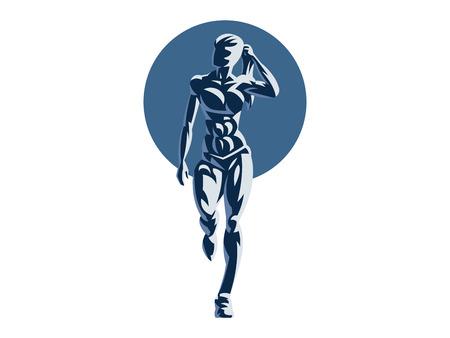 Sporty woman fitness emblem silhouette. Vector illustration.