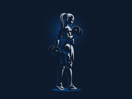 Emblema de fitness deportivo mujer musculosa. Ilustración de vector.