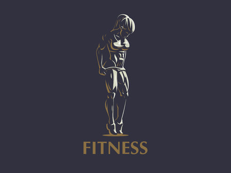Sporty muscular woman fitness emblem. Vector illustration.