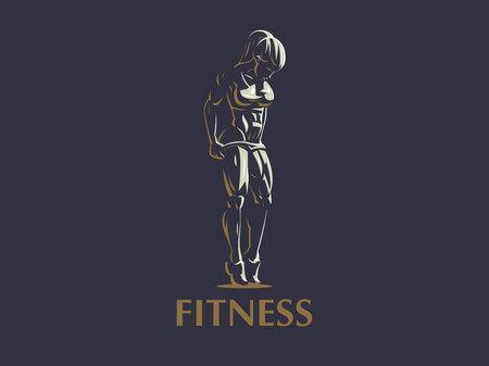 Emblema de fitness deportivo mujer musculosa. Ilustración de vector. Ilustración de vector