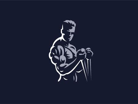 Deporte. Hombre deportivo y atlético. Cuerpo musculoso. Ilustración vectorial