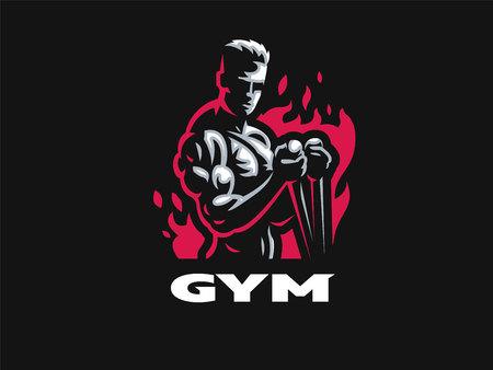 Sport. Uomo sportivo e atletico. Corpo muscoloso. Illustrazione vettoriale. Vettoriali