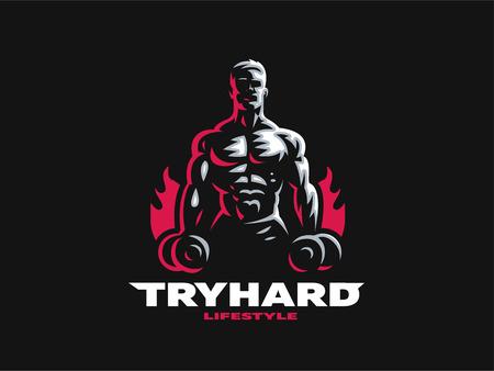 Deporte. Hombre atlético y deportivo. Cuerpo musculoso. Ilustración de vector.