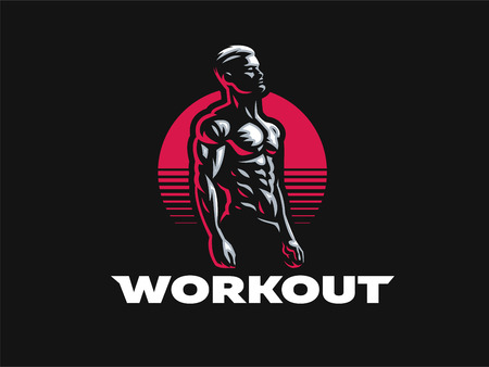Sport. Sporty and athletic man. Muscular body. Vector illustration.  イラスト・ベクター素材
