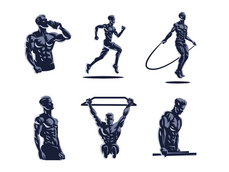 Sport. Sporty and athletic man. Muscular body. Set of Vector illustrations.