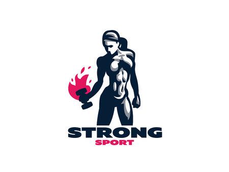 Sporty muscular woman fitness emblem. Vector illustration. Vetores