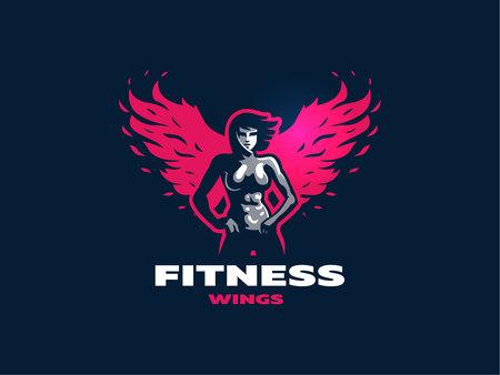 Sporty muscular woman fitness emblem. Vector illustration.